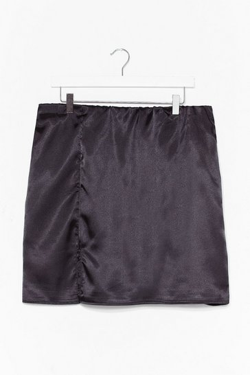 Black Plus Floral Jaquard Satin Mini Skirt