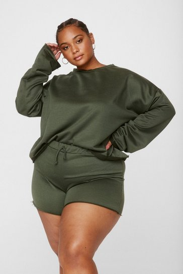 Khaki Our Day to Day Plus Shorts Lounge Set