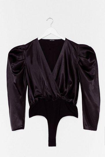 Black Dig Deep Satin Puff Shoulder Bodysuit