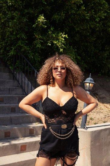Black Take It at My Lace Plus Bodysuit