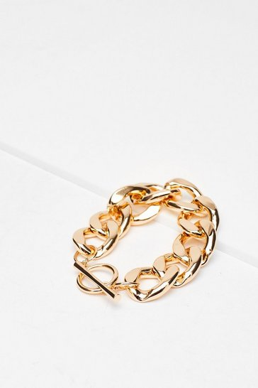 Gold Recycled Metal Chunky Curb Chain Bracelet