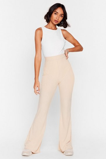 Cream Recycled Flare Case Ribbed Pants