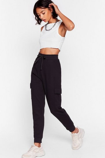 Black How Low Can You Cargo High-Waisted Joggers