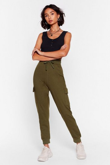 Khaki How Low Can You Cargo High-Waisted Joggers