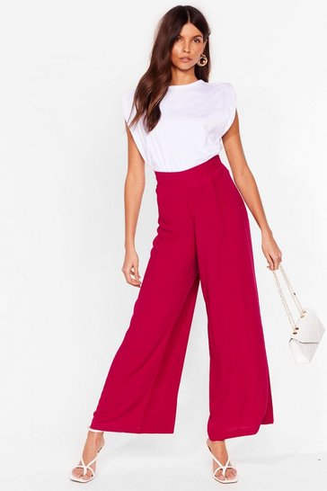 Raspberry Arms Wide Open High-Waisted Pants