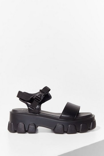 Black PU Mega Cleat Sandals