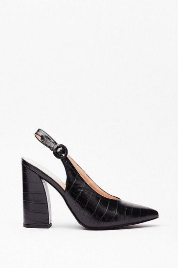 Black Slingback for Good Faux Leather Croc Heels