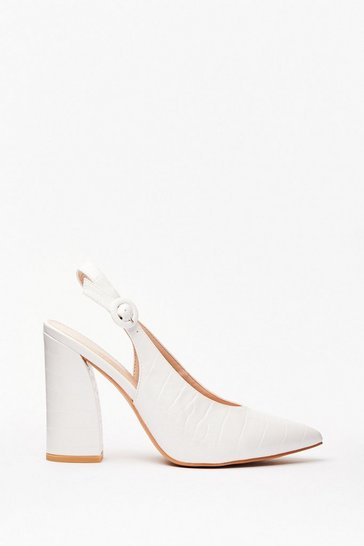 White Slingback for Good Faux Leather Croc Heels