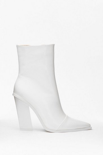 White Patent Pointed Ankle Boots