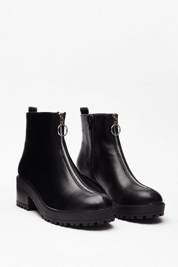Black PU Zip Front Ankle Boot