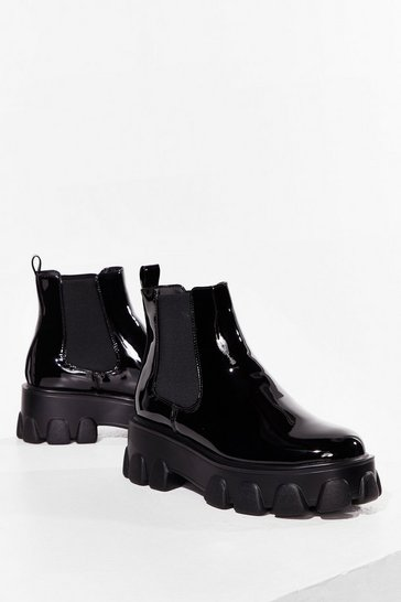Shine on Me Cleated Patent Boots, Black