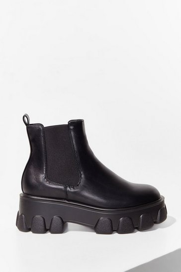 Black Pu New Cleat Mega Chelsea Boot