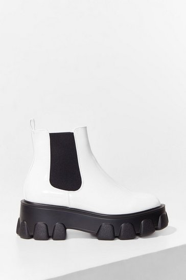 White Step Up Cleated Chelsea Boots