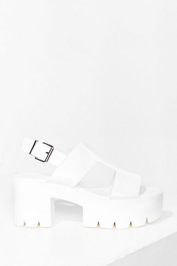White Cleat Things Up Faux Leather Platform Sandals
