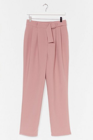 Mauve Let It Ring Tapered Belted Trousers