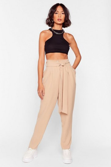 Stone Flying High-Waisted Belted Tapered Pants