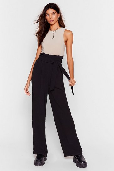 Black No More Time to Waist Paperbag Wide-Leg Pants