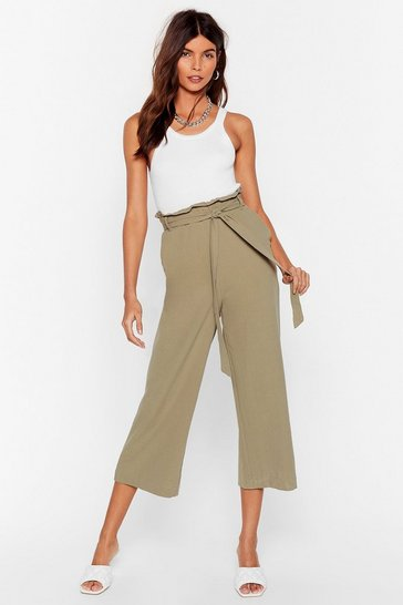 Khaki Waist Some Time Belted Wide-Leg Pants