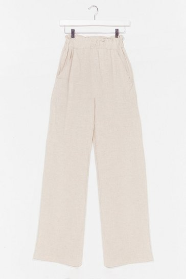 Stone Add to Paperbag Wide-Leg Pants