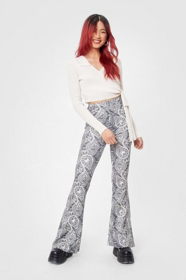 Grey Paisley Print High Waisted Flare Pants