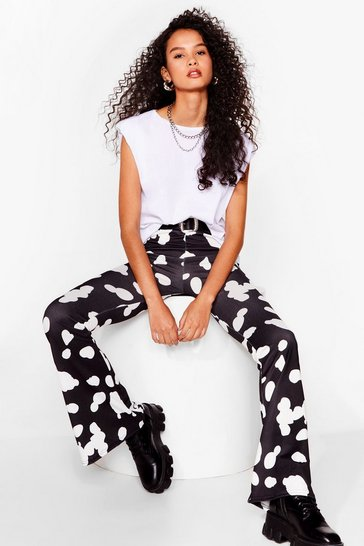 Black Abstract Spot Flare Pants