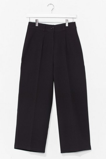 Black Nine to Five Cropped Tailored Pants