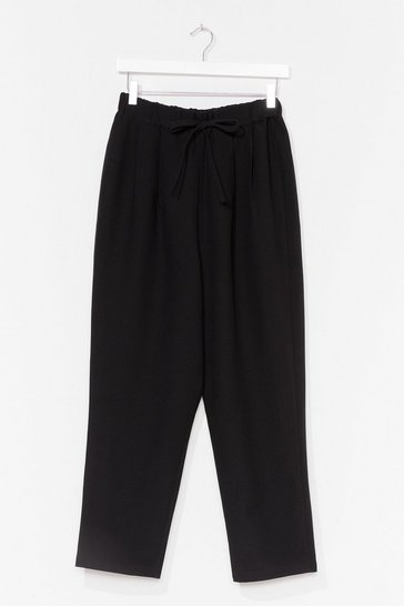 Black Ask 'Em Tie High-Waisted Tapered Trousers