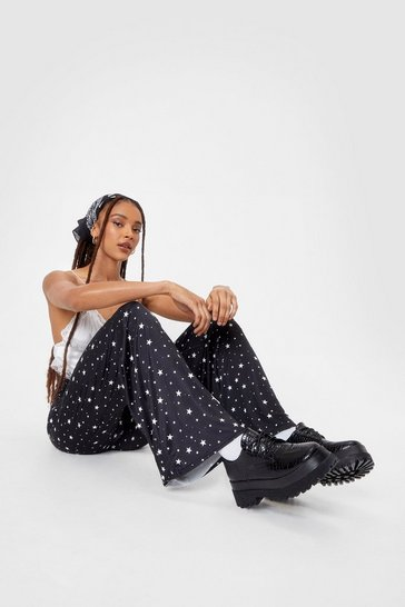 Black Star-t Your Day Right High-Waisted Wide-Leg Pants