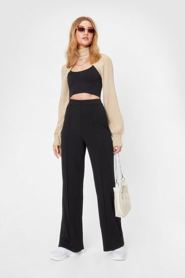 Black Seam You Lookin' High-Waisted Wide-Leg Trousers