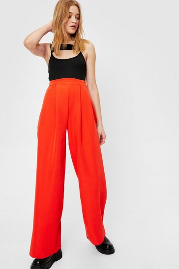 Orange We Aim to Pleat Tailored Wide-Leg Pants