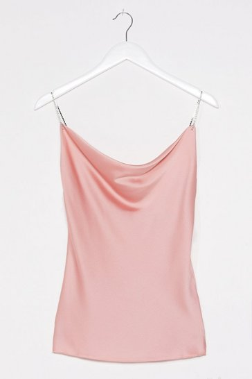 Blush Apply Some Pressure Diamante Satin Top