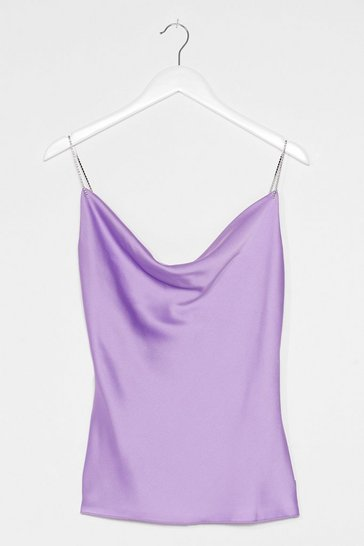 Lilac Apply Some Pressure Diamante Satin Top