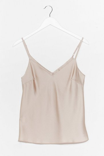 Beige Gloss Over Satin Cami Top