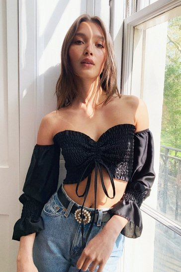 Black Shirred Satin Off The Shoulder Crop Top