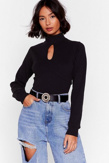 Black Open to New Ideas Cut-Out Ribbed Top