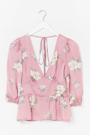 Pink Work the Bloom Plunging Tie Back Blouse