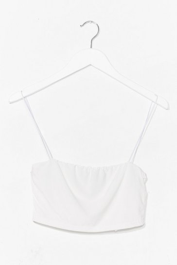 White Show 'Em You Square Slinky Crop Top