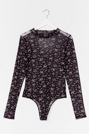 Black Spring Up Floral Mesh Bodysuit