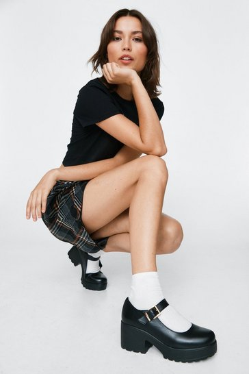 Black Faux Leather Platform Mary Janes