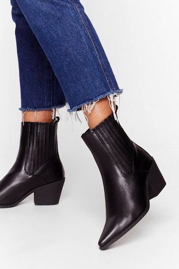 Black Point Blank Faux Leather Chelsea Boots