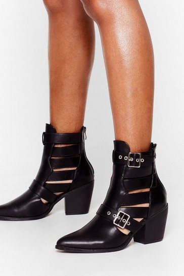 Black I'm Cut Outta Here Faux Leather Pointed Boots