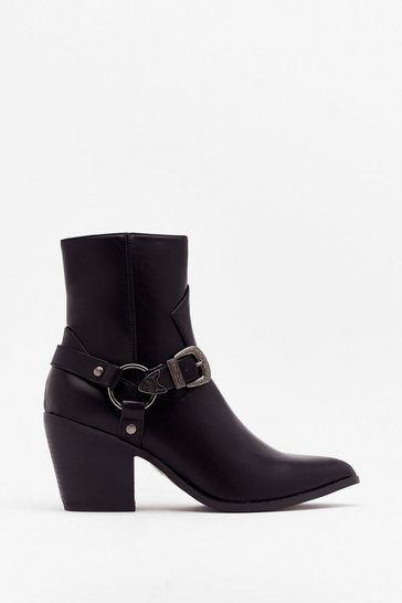 Black Baby You're the West Faux Leather Boots