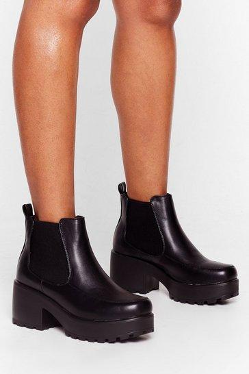 Black Walk It Out Platform Ankle Boots