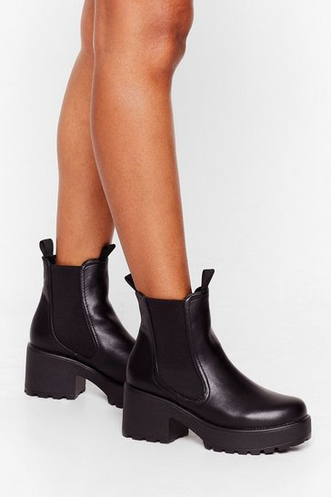 Black Walk On Down Chunky Chelsea Boots
