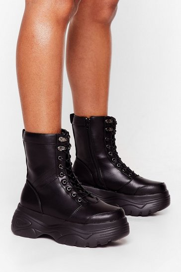 Black Walk My Way Faux Leather Hiker Boots