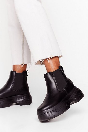 Black Walk in Chunky Chelsea Boots