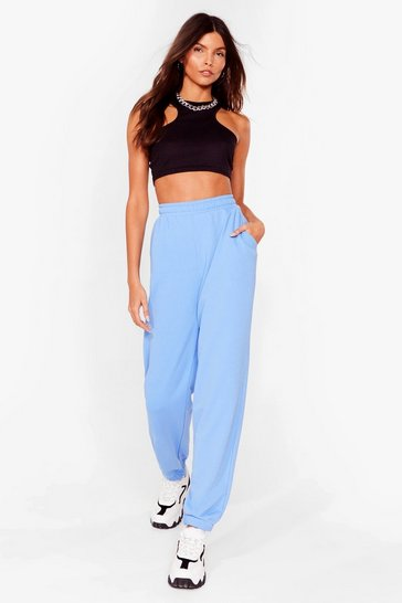 Blue Oversized Tie High Waisted Joggers