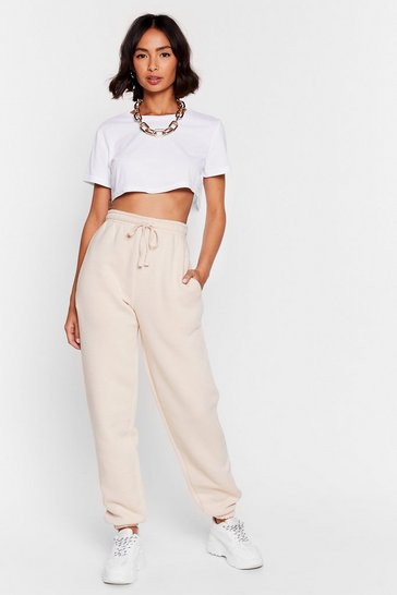 Sand Oversized Tie High Waisted Sweatpants