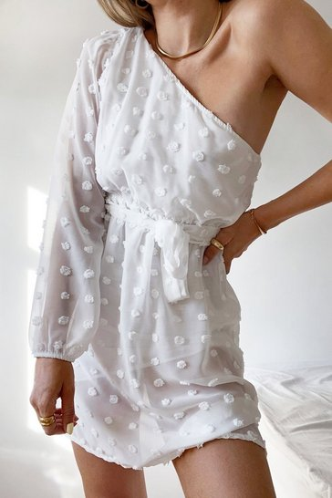 White Let Me Be the One Shoulder Belted Mini Dress