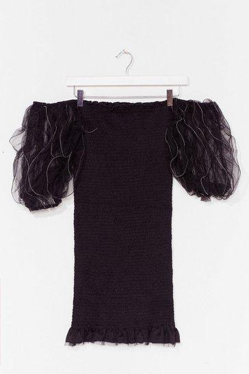 Black Off the Record Puff Sleeve Mini Dress